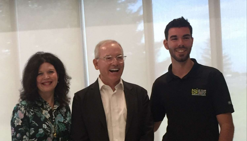 St. Clair College President Patti France, stands with Alumni of Distinction recipient and College benefactor Andrew Faas, along with then President of Thames Student Inc. Zach Rank, in 2018 after the College named the Student Centre in Faas's honour.